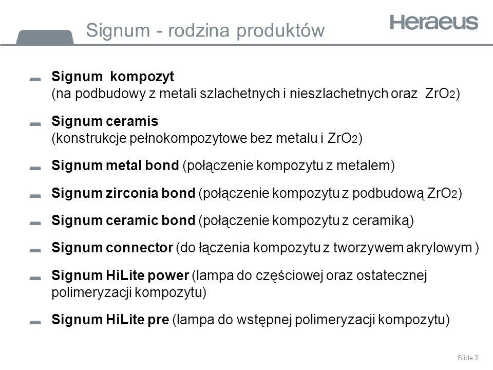Slide 3 Signum - rodzina produktów Signum kompozyt (na podbudowy z metali szlachetnych i nieszlachetnych oraz ZrO 2 ) Signum ceramis (konstrukcje pełnokompozytowe bez metalu i ZrO 2 ) Signum metal bond (połączenie kompozytu z metalem) Signum zirconia bond (połączenie kompozytu z podbudową ZrO 2 ) Signum ceramic bond (połączenie kompozytu z ceramiką) Signum connector (do łączenia kompozytu z tworzywem akrylowym ) Signum HiLite power (lampa do częściowej oraz ostatecznej polimeryzacji kompozytu) Signum HiLite pre (lampa do wstępnej polimeryzacji kompozytu)