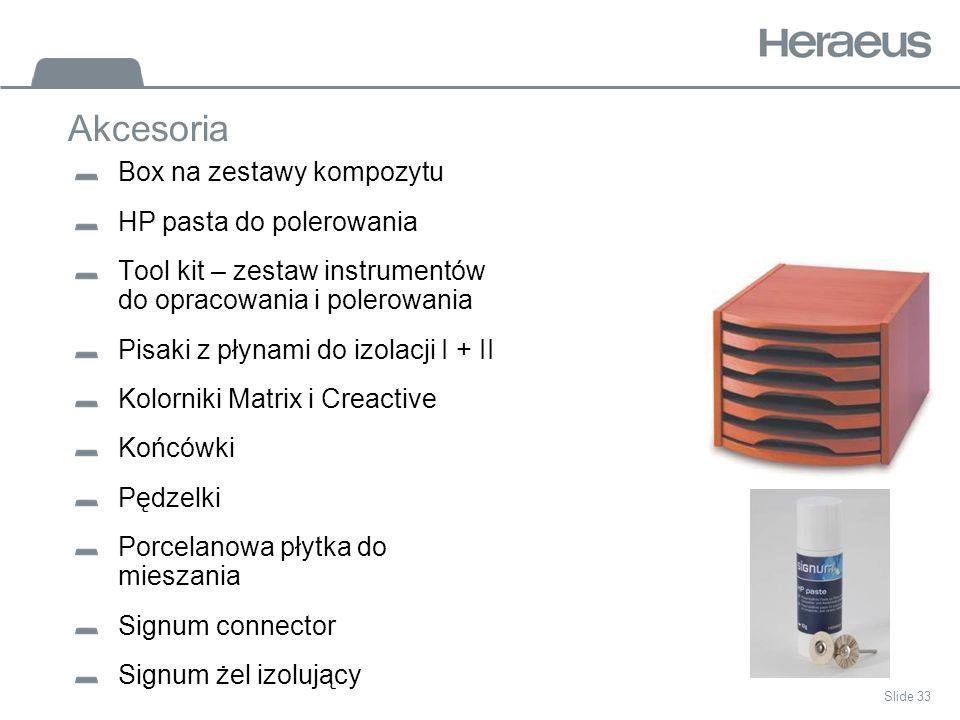 Slide 33 Akcesoria Box na zestawy kompozytu HP pasta do polerowania Tool kit – zestaw instrumentów do opracowania i polerowania Pisaki z płynami do izolacji I + II Kolorniki Matrix i Creactive Końcówki Pędzelki Porcelanowa płytka do mieszania Signum connector Signum żel izolujący