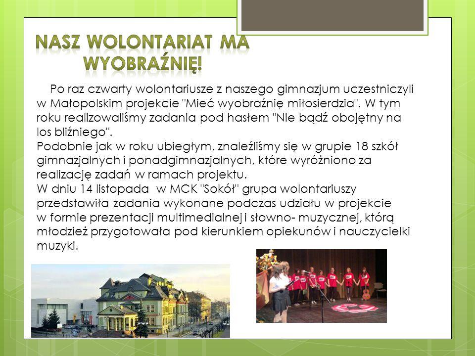 Po raz czwarty wolontariusze z naszego gimnazjum uczestniczyli w Małopolskim projekcie