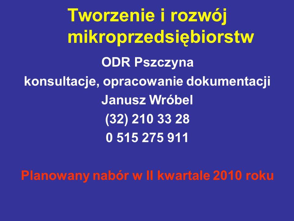 Tworzenie i rozwój mikroprzedsiębiorstw ODR Pszczyna konsultacje, opracowanie dokumentacji Janusz Wróbel (32) 210 33 28 0 515 275 911 Planowany nabór