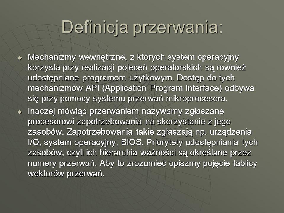 Definicja przerwania: Mechanizmy wewnętrzne, z których system operacyjny korzysta przy realizacji poleceń operatorskich są również udostępniane progra