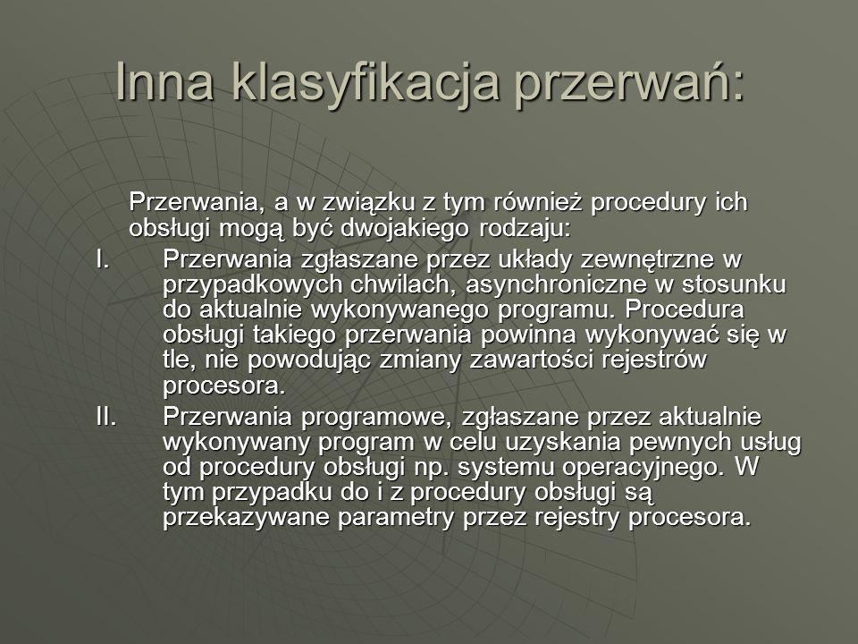 Inna klasyfikacja przerwań: Przerwania, a w związku z tym również procedury ich obsługi mogą być dwojakiego rodzaju: I.Przerwania zgłaszane przez ukła
