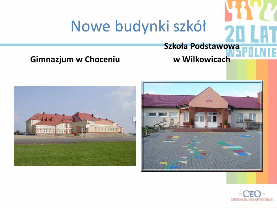 Nowe budynki szkół Gimnazjum w Choceniu Szkoła Podstawowa w Wilkowicach