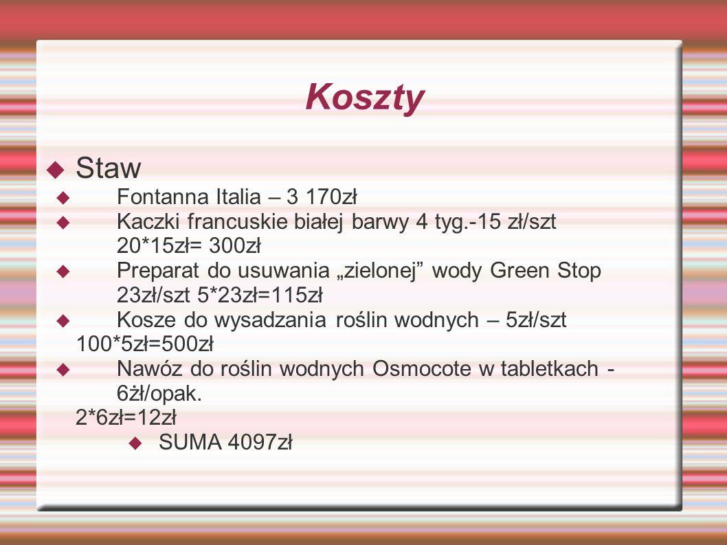 Koszty Staw Fontanna Italia – 3 170zł Kaczki francuskie białej barwy 4 tyg.-15 zł/szt 20*15zł= 300zł Preparat do usuwania zielonej wody Green Stop 23z