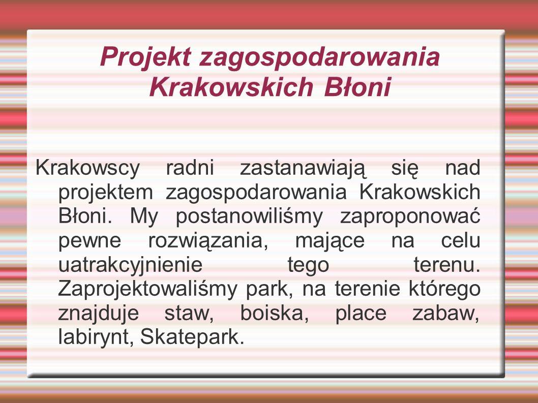 Projekt zagospodarowania Krakowskich Błoni Krakowscy radni zastanawiają się nad projektem zagospodarowania Krakowskich Błoni. My postanowiliśmy zaprop