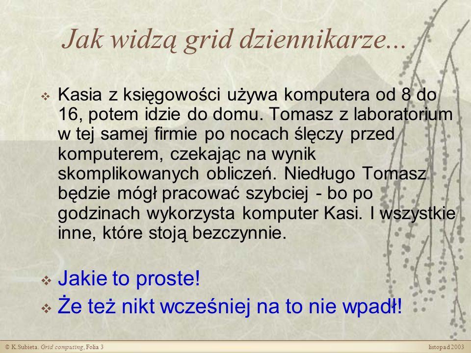 © K.Subieta.Grid computing, Folia 4 listopad 2003 Trochę mniej optymizmu...