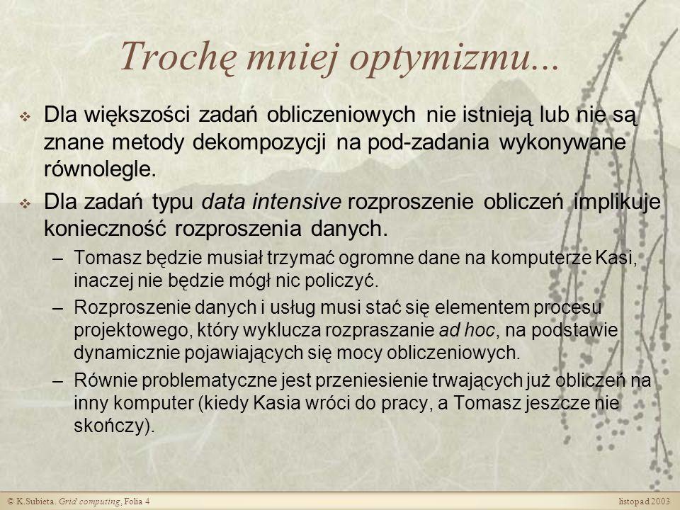 © K.Subieta.Grid computing, Folia 5 listopad 2003 Jak widzą grid specjaliści....