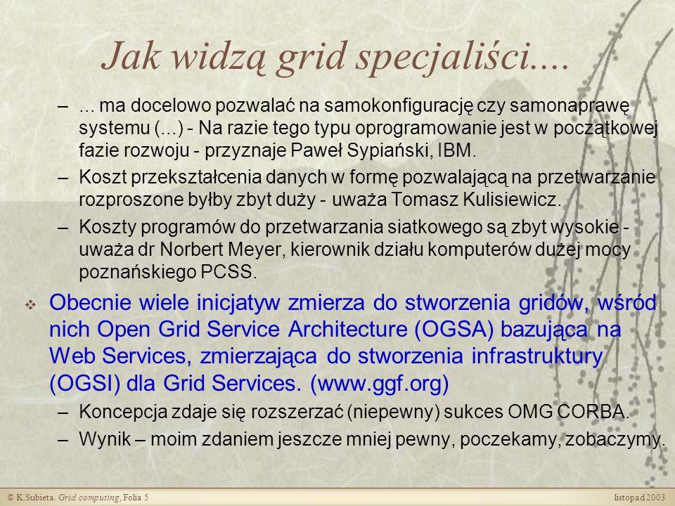 © K.Subieta.Grid computing, Folia 6 listopad 2003 Dlaczego grid.