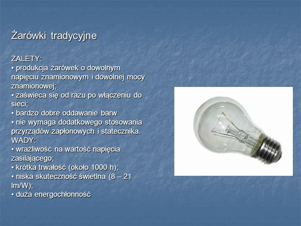 Żarówki tradycyjne ZALETY: produkcja żarówek o dowolnym produkcja żarówek o dowolnym napięciu znamionowym i dowolnej mocy znamionowej; zaświeca się od