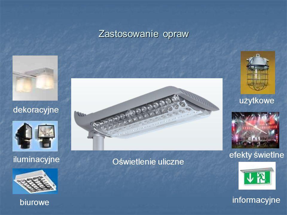 Zastosowanie opraw Oświetlenie uliczne użytkowe dekoracyjne iluminacyjne biurowe efekty świetlne informacyjne