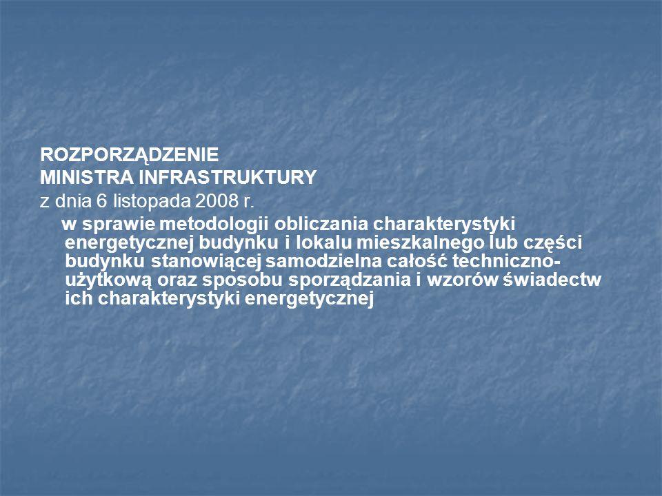 ROZPORZĄDZENIE MINISTRA INFRASTRUKTURY z dnia 6 listopada 2008 r. w sprawie metodologii obliczania charakterystyki energetycznej budynku i lokalu mies