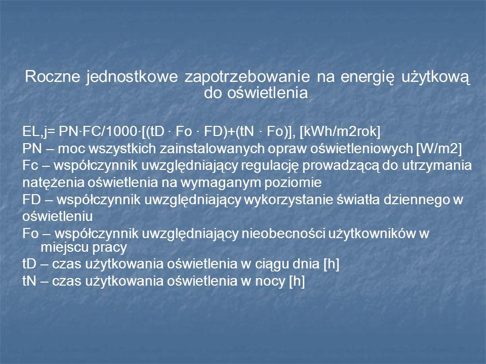 Roczne jednostkowe zapotrzebowanie na energię użytkową do oświetlenia EL,j= PN·FC/1000·[(tD · Fo · FD)+(tN · Fo)], [kWh/m2rok] PN – moc wszystkich zai