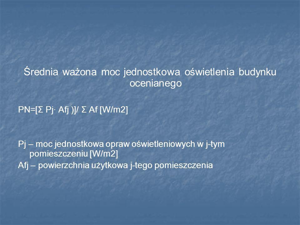 Średnia ważona moc jednostkowa oświetlenia budynku ocenianego PN=[Σ Pj· Afj )]/ Σ Af [W/m2] Pj – moc jednostkowa opraw oświetleniowych w j-tym pomiesz