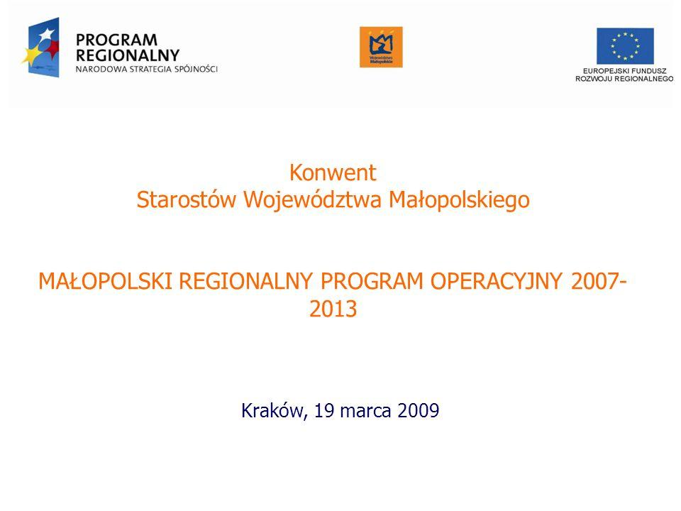 Konwent Starostów Województwa Małopolskiego MAŁOPOLSKI REGIONALNY PROGRAM OPERACYJNY 2007- 2013 Kraków, 19 marca 2009 Urząd Marszałkowski Województwa