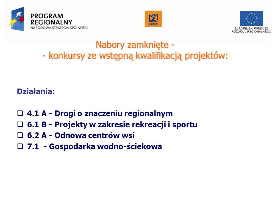 Nabory zamknięte - - konkursy ze wstępną kwalifikacją projektów: Działania: 4.1 A - Drogi o znaczeniu regionalnym 6.1 B - Projekty w zakresie rekreacji i sportu 6.2 A - Odnowa centrów wsi 7.1 - Gospodarka wodno-ściekowa