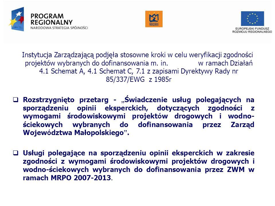 Instytucja Zarządzającą podjęła stosowne kroki w celu weryfikacji zgodności projektów wybranych do dofinansowania m. in. w ramach Działań 4.1 Schemat