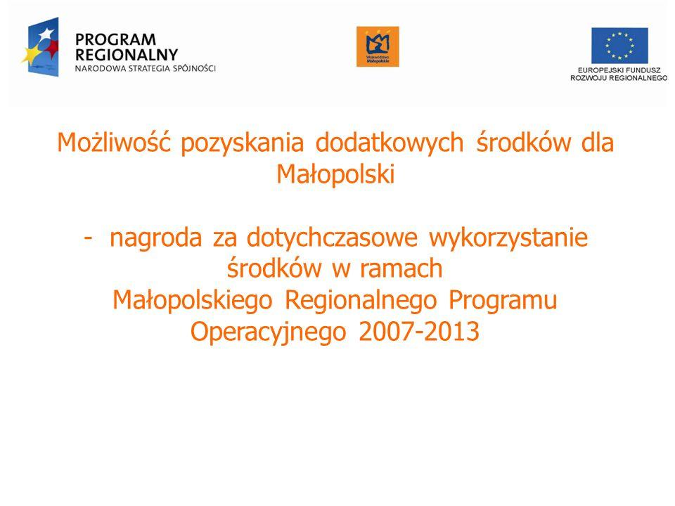 Możliwość pozyskania dodatkowych środków dla Małopolski - nagroda za dotychczasowe wykorzystanie środków w ramach Małopolskiego Regionalnego Programu