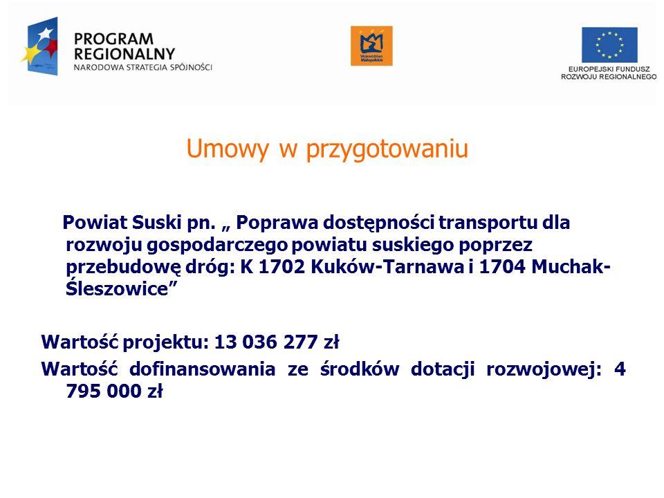 Umowy w przygotowaniu Powiat Suski pn. Poprawa dostępności transportu dla rozwoju gospodarczego powiatu suskiego poprzez przebudowę dróg: K 1702 Kuków