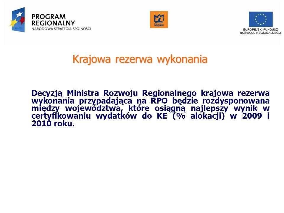 Krajowa rezerwa wykonania Decyzją Ministra Rozwoju Regionalnego krajowa rezerwa wykonania przypadająca na RPO będzie rozdysponowana między województwa, które osiągną najlepszy wynik w certyfikowaniu wydatków do KE (% alokacji) w 2009 i 2010 roku.