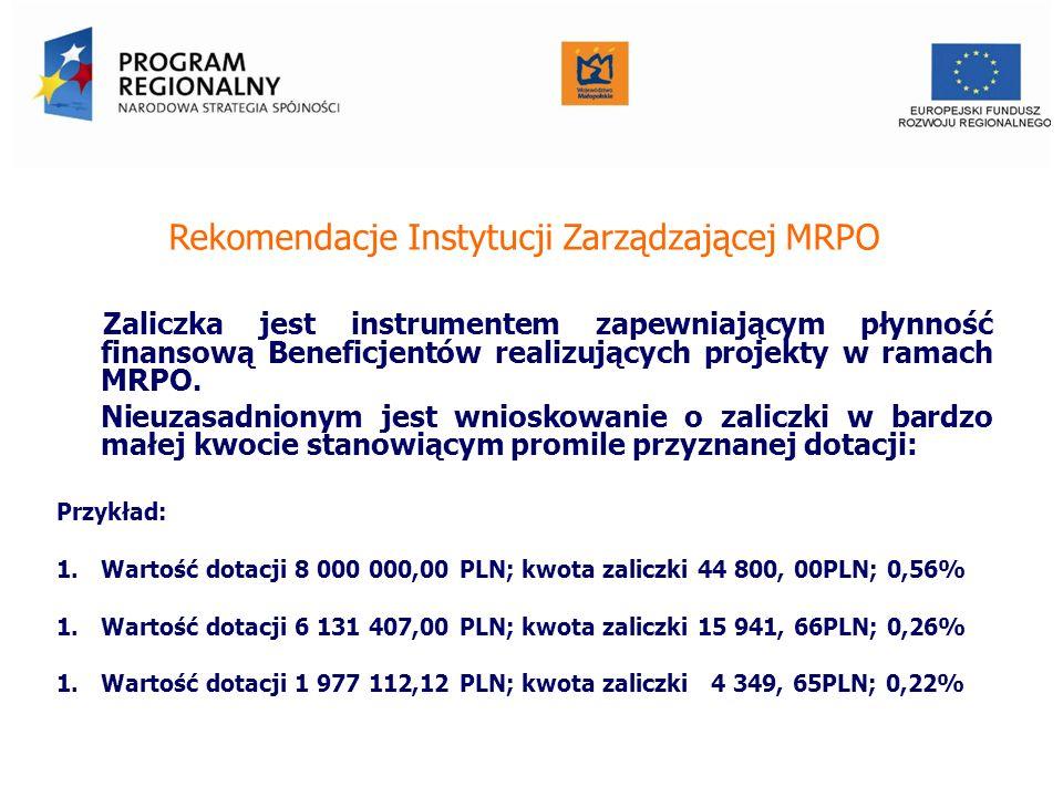 Rekomendacje Instytucji Zarządzającej MRPO Zaliczka jest instrumentem zapewniającym płynność finansową Beneficjentów realizujących projekty w ramach M