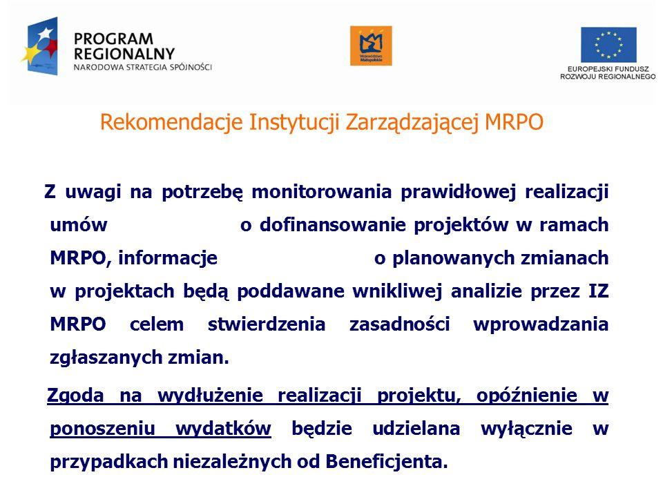 Rekomendacje Instytucji Zarządzającej MRPO Z uwagi na potrzebę monitorowania prawidłowej realizacji umów o dofinansowanie projektów w ramach MRPO, informacje o planowanych zmianach w projektach będą poddawane wnikliwej analizie przez IZ MRPO celem stwierdzenia zasadności wprowadzania zgłaszanych zmian.