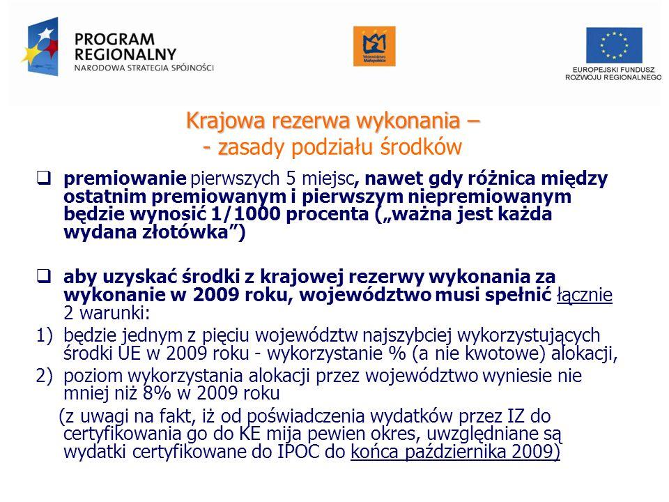 Krajowa rezerwa wykonania – - z Krajowa rezerwa wykonania – - zasady podziału środków premiowanie pierwszych 5 miejsc, nawet gdy różnica między ostatnim premiowanym i pierwszym niepremiowanym będzie wynosić 1/1000 procenta (ważna jest każda wydana złotówka) aby uzyskać środki z krajowej rezerwy wykonania za wykonanie w 2009 roku, województwo musi spełnić łącznie 2 warunki: 1)będzie jednym z pięciu województw najszybciej wykorzystujących środki UE w 2009 roku - wykorzystanie % (a nie kwotowe) alokacji, 2)poziom wykorzystania alokacji przez województwo wyniesie nie mniej niż 8% w 2009 roku (z uwagi na fakt, iż od poświadczenia wydatków przez IZ do certyfikowania go do KE mija pewien okres, uwzględniane są wydatki certyfikowane do IPOC do końca października 2009) Urząd Marszałkowski Województwa Małopolskiego Departament Funduszy Europejskich
