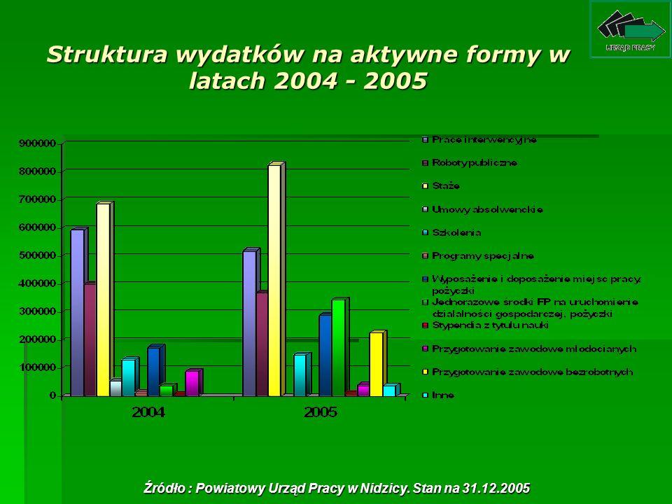 Struktura wydatków na aktywne formy w latach 2004 - 2005 Źródło : Powiatowy Urząd Pracy w Nidzicy. Stan na 31.12.2005