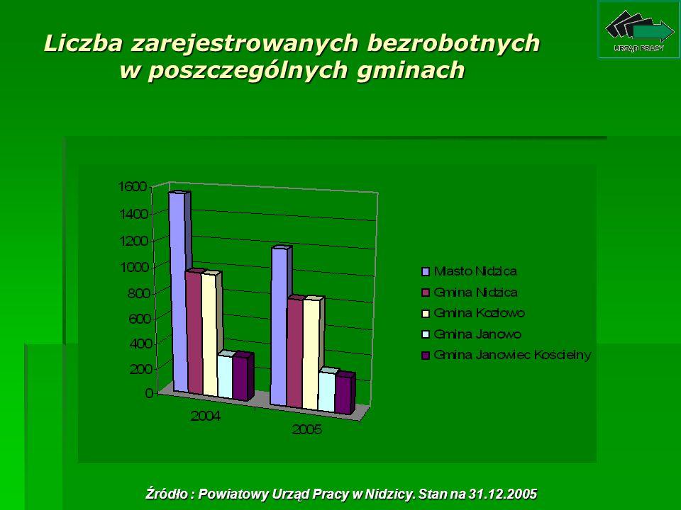 Liczba zarejestrowanych bezrobotnych w poszczególnych gminach Źródło : Powiatowy Urząd Pracy w Nidzicy. Stan na 31.12.2005