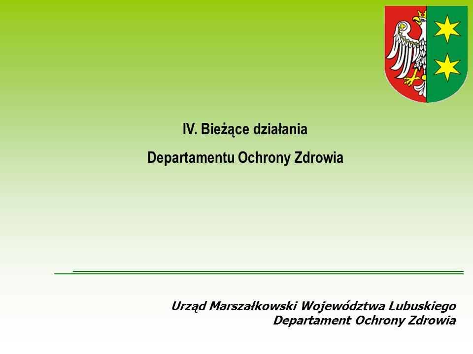 Urząd Marszałkowski Województwa Lubuskiego Departament Ochrony Zdrowia IV.
