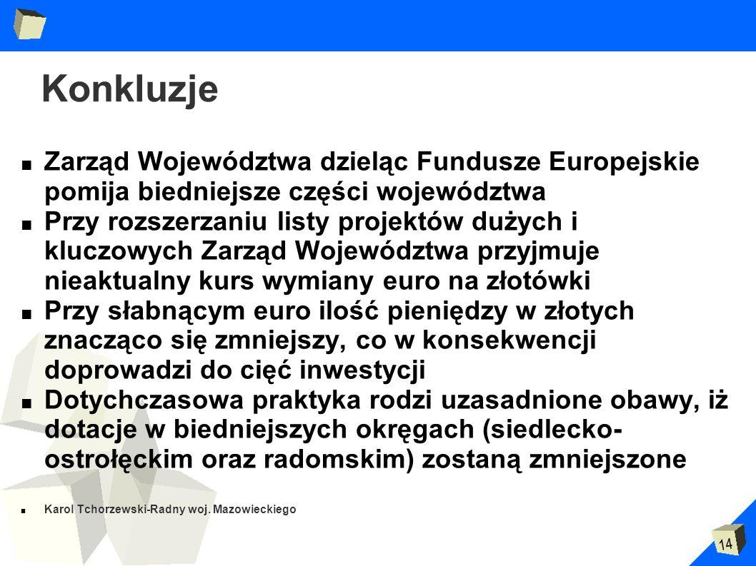 14 Konkluzje Zarząd Województwa dzieląc Fundusze Europejskie pomija biedniejsze części województwa Przy rozszerzaniu listy projektów dużych i kluczowy