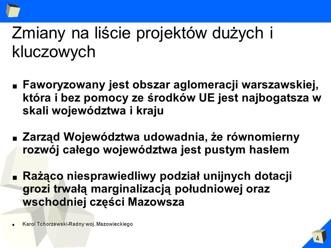 4 Zmiany na liście projektów dużych i kluczowych Faworyzowany jest obszar aglomeracji warszawskiej, która i bez pomocy ze środków UE jest najbogatsza