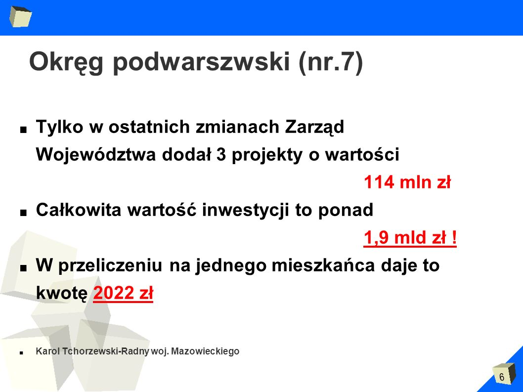 6 Okręg podwarszwski (nr.7) Tylko w ostatnich zmianach Zarząd Województwa dodał 3 projekty o wartości 114 mln zł Całkowita wartość inwestycji to ponad