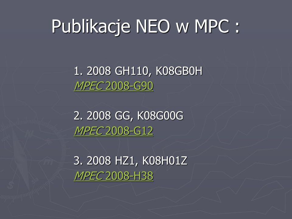 Publikacje NEO w MPC : 1. 2008 GH110, K08GB0H MPEC 2008-G90MPEC 2008-G90 MPEC 2008-G90 MPEC 2008-G90 2. 2008 GG, K08G00G 2. 2008 GG, K08G00G MPEC 2008