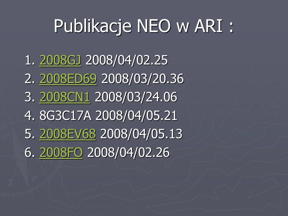 Publikacje NEO w ARI : 1. 2008GJ 2008/04/02.25 1. 2008GJ 2008/04/02.252008GJ 2. 2008ED69 2008/03/20.36 2. 2008ED69 2008/03/20.362008ED69 3. 2008CN1 20