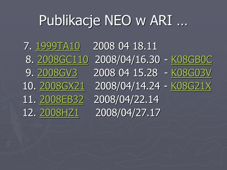 Publikacje NEO w ARI … 7. 1999TA10 2008 04 18.11 7. 1999TA10 2008 04 18.111999TA10 8. 2008GC110 2008/04/16.30 - K08GB0C 8. 2008GC110 2008/04/16.30 - K