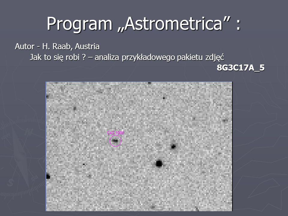 Program Astrometrica : Autor - H. Raab, Austria Autor - H. Raab, Austria Jak to się robi ? – analiza przykładowego pakietu zdjęć Jak to się robi ? – a