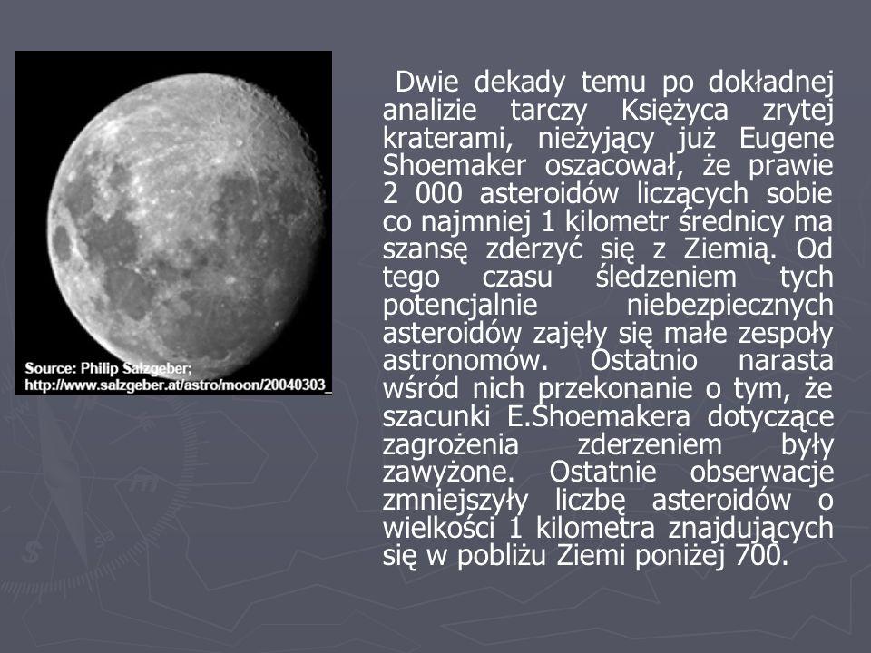 Dwie dekady temu po dokładnej analizie tarczy Księżyca zrytej kraterami, nieżyjący już Eugene Shoemaker oszacował, że prawie 2 000 asteroidów liczącyc