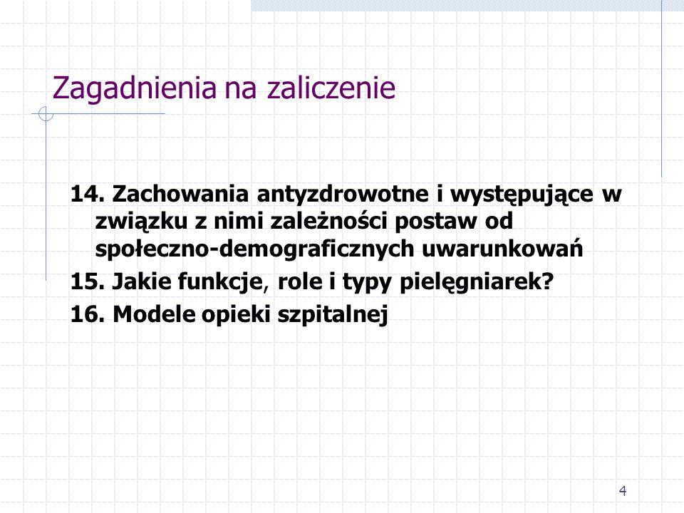 Zagadnienia na zaliczenie 14. Zachowania antyzdrowotne i występujące w związku z nimi zależności postaw od społeczno-demograficznych uwarunkowań 15. J