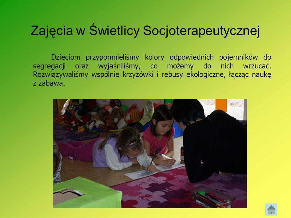Zajęcia w Świetlicy Socjoterapeutycznej Dzieciom przypomnieliśmy kolory odpowiednich pojemników do segregacji oraz wyjaśniliśmy, co możemy do nich wrz