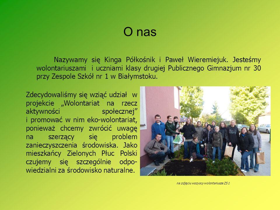 O nas Nazywamy się Kinga Półkośnik i Paweł Wieremiejuk. Jesteśmy wolontariuszami i uczniami klasy drugiej Publicznego Gimnazjum nr 30 przy Zespole Szk