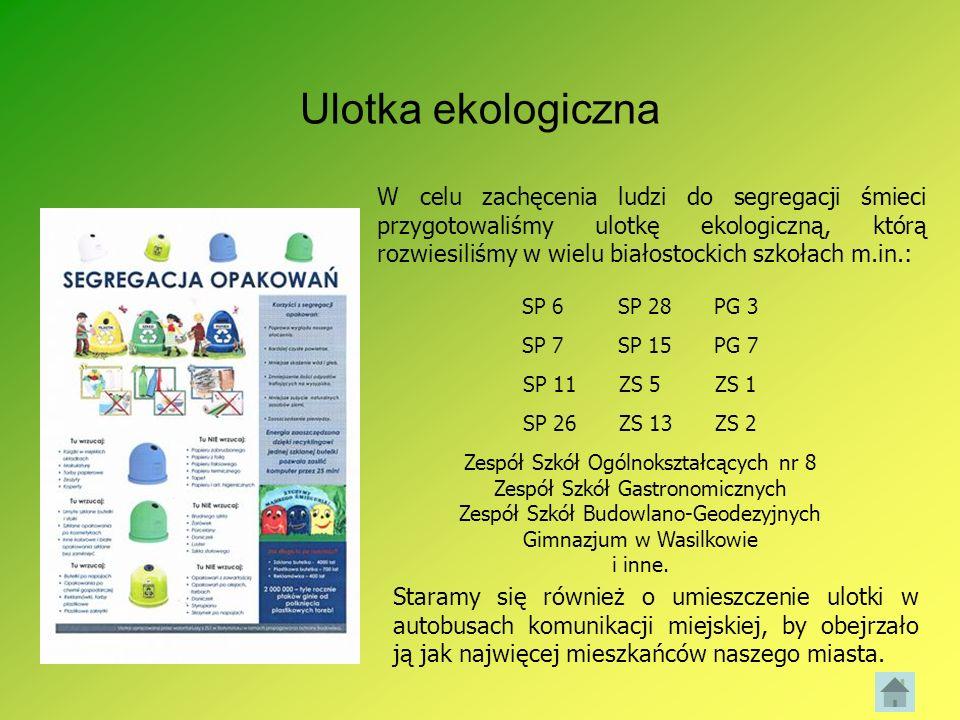 Ulotka ekologiczna W celu zachęcenia ludzi do segregacji śmieci przygotowaliśmy ulotkę ekologiczną, którą rozwiesiliśmy w wielu białostockich szkołach