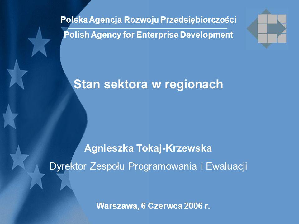 Warszawa, 6 Czerwca 2006 r. Polska Agencja Rozwoju Przedsiębiorczości Polish Agency for Enterprise Development Stan sektora w regionach Agnieszka Toka