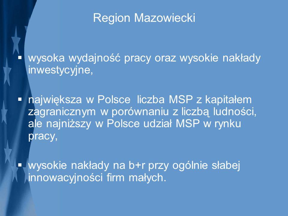Region Mazowiecki wysoka wydajność pracy oraz wysokie nakłady inwestycyjne, największa w Polsce liczba MSP z kapitałem zagranicznym w porównaniu z lic