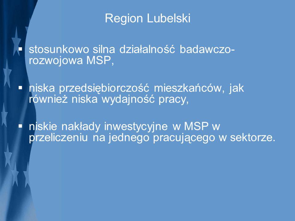 Region Lubelski stosunkowo silna działalność badawczo- rozwojowa MSP, niska przedsiębiorczość mieszkańców, jak również niska wydajność pracy, niskie n