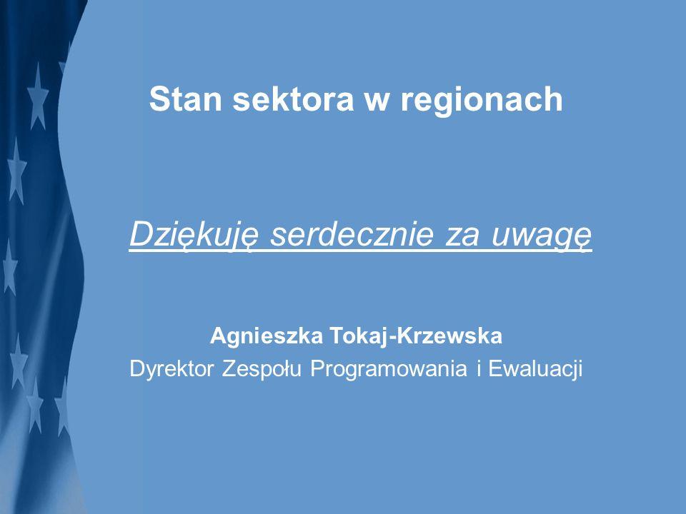 Stan sektora w regionach Agnieszka Tokaj-Krzewska Dyrektor Zespołu Programowania i Ewaluacji Dziękuję serdecznie za uwagę