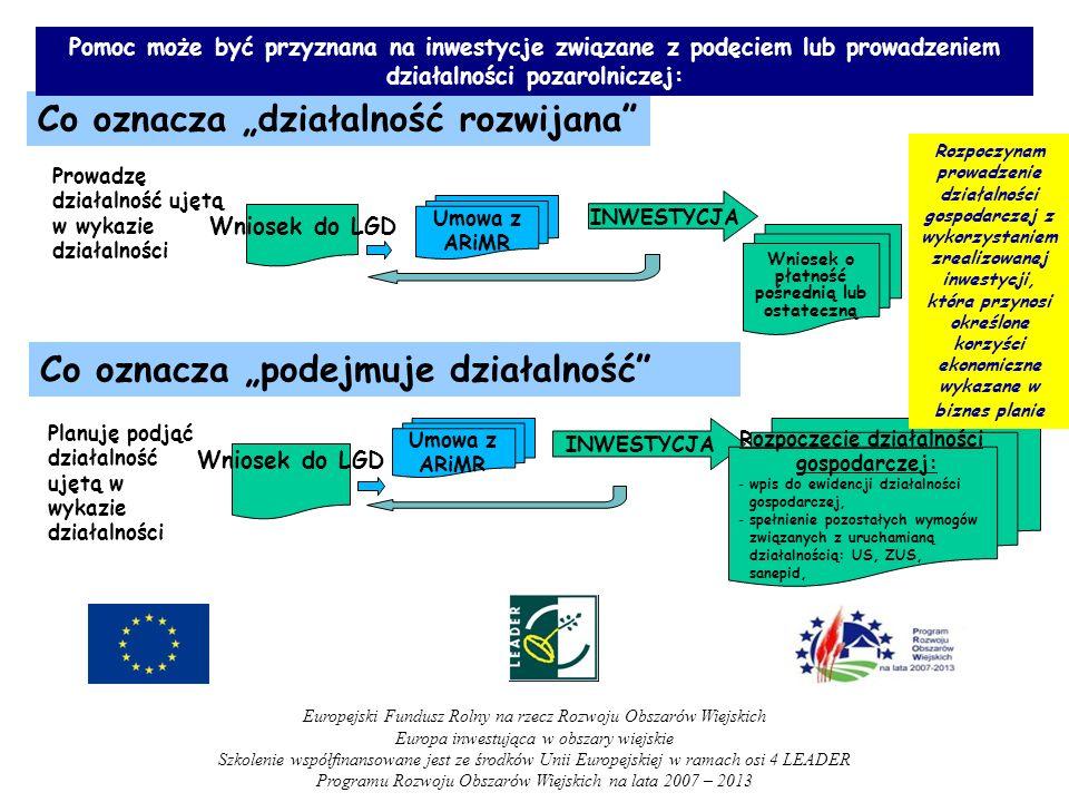 Co oznacza działalność rozwijana Co oznacza podejmuje działalność INWESTYCJA Rozpoczęcie działalności gospodarczej: -wpis do ewidencji działalności go