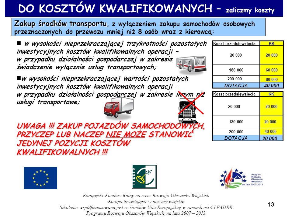 DO KOSZTÓW KWALIFIKOWANYCH – zaliczmy koszty Zakup środków transportu Zakup środków transportu, z wyłączeniem zakupu samochodów osobowych przeznaczony
