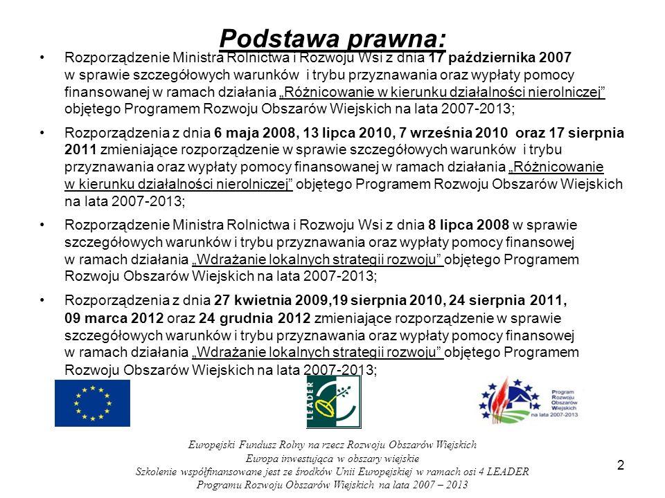 Podstawa prawna: Rozporządzenie Ministra Rolnictwa i Rozwoju Wsi z dnia 17 października 2007 w sprawie szczegółowych warunków i trybu przyznawania ora