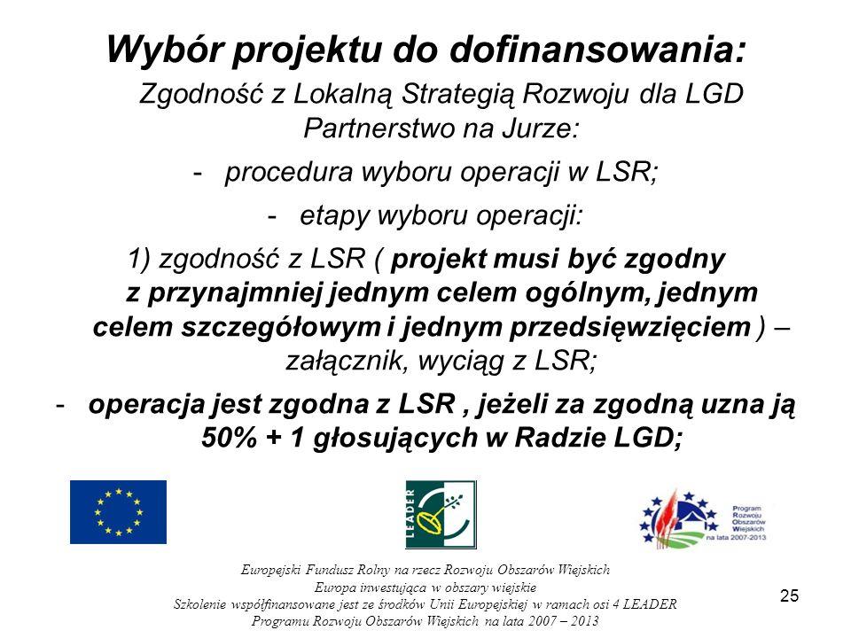 Wybór projektu do dofinansowania: Zgodność z Lokalną Strategią Rozwoju dla LGD Partnerstwo na Jurze: -procedura wyboru operacji w LSR; -etapy wyboru o