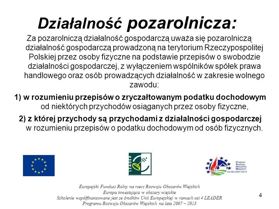4 Działalność pozarolnicza: Za pozarolniczą działalność gospodarczą uważa się pozarolniczą działalność gospodarczą prowadzoną na terytorium Rzeczyposp